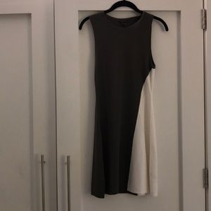Theory green and white A-line dress